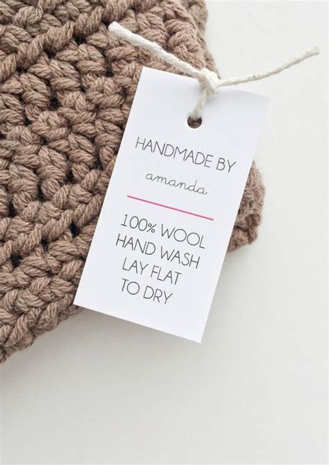 made by tags for knitting shop labels handmade tags care tags handmade with