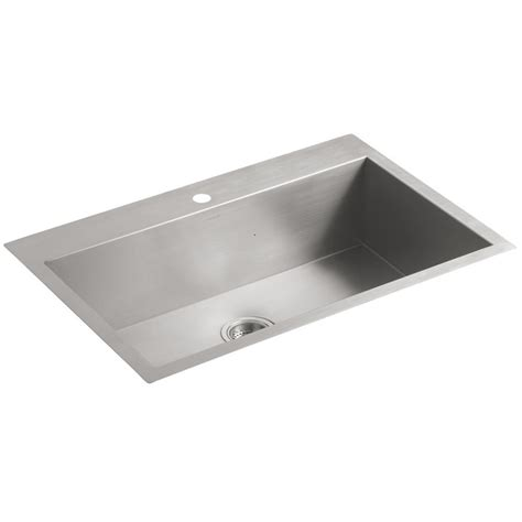 steel kitchen sinks kohler vault 3821 1 na single bowl stainless steel kitchen