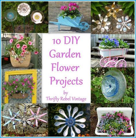 diy glass garden flowers 10 diy garden flower projects thrifty rebel vintage