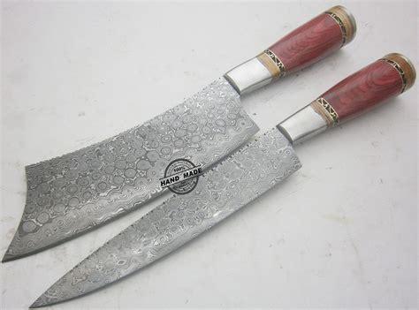 damascus kitchen knives lot of 2 pcs damascus kitchen knife