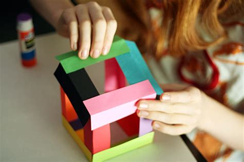 cool construction paper crafts paper cube sculptures make and takes