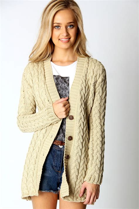 womens cable knit cardigan boohoo womens cable knit sleeve hip