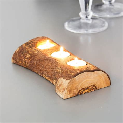rustic olive wood tea light holder by the rustic dish