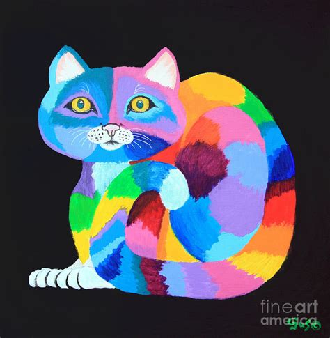 rainbow cat painting colorful rainbow cat painting by nick gustafson
