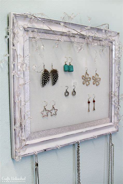 how to make jewelry hanger shabby chic plastic canvas diy jewelry organizer