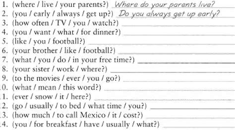 preguntas faciles en pasado simple present simple en ingles forma negativa y preguntas