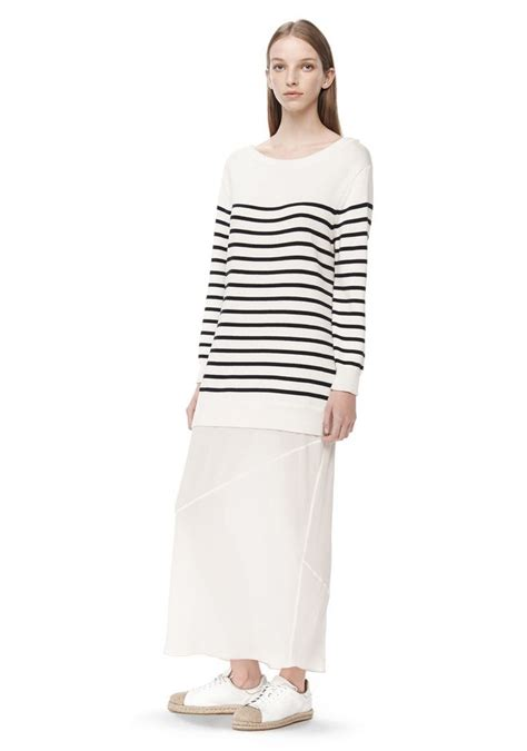 knit dress with stripe knit pullover dress with silk skirt dress