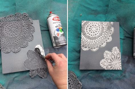 spray paint canvas try this spray painted doily canvas