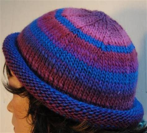 knit hat with brim pattern free colorful striped roll brim hat knitting pattern knitted