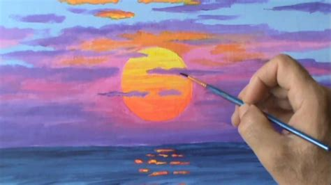how to draw with acrylic paint on canvas pintar un sol rojo a la puesta con acrilicos leccion de