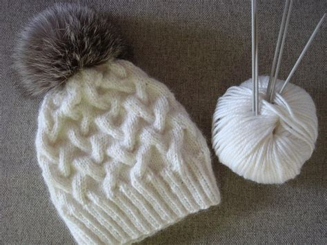 hats knitted on needles snowy cable hat allfreeknitting