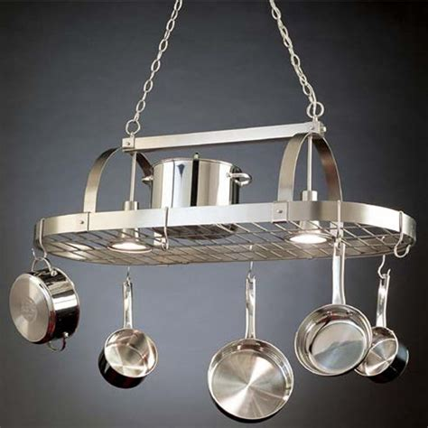 lighted hanging pot racks kitchen lighted pot racks hanging pot racks with downlights by