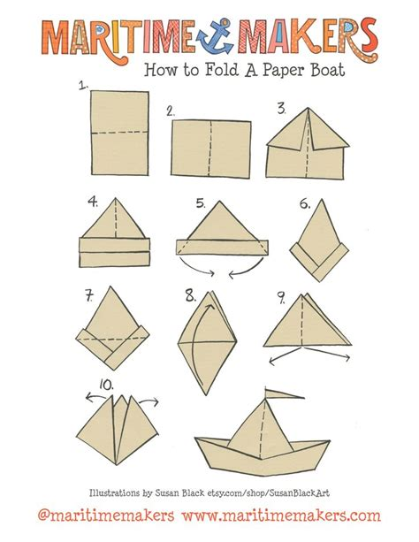 origami boat pdf maritime makers how to fold a paper boat printable