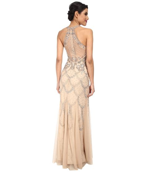 beaded halter gown papell halter fully beaded gown in lyst