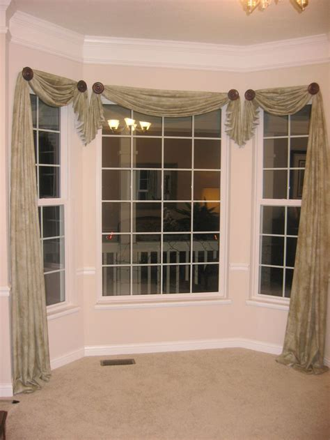 Curtain Rods For Bow Windows window scarf designs decisions pinterest