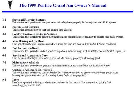 auto repair manual online 1999 pontiac grand am engine control solved manual for 1999 pontiac grand am fixya
