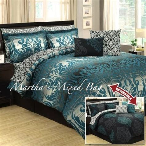 teal and grey comforter set 10pc teal gray black damask toile arabesque