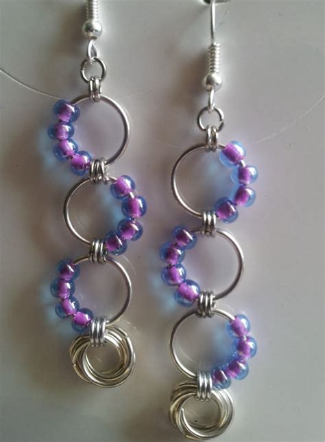 beaded chainmaille jewelry patterns beaded chain mail wave earrings with eternity ring see