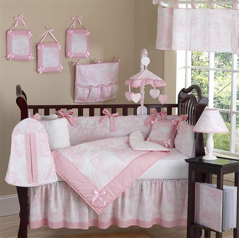 discount baby crib bedding sets luxury boutique pink white toile discount 9pc baby