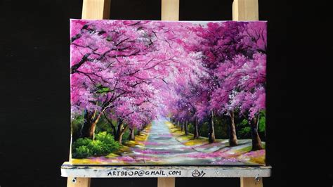 acrylic paint remove from canvas beautiful cherry blossoms road acrylic painting canvas