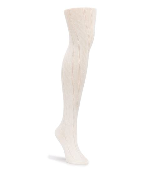 cable knit tights hue cable knit sweater tights in white lyst