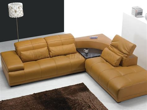 sectional sofa with corner table camel leather modern sectional sofa 697