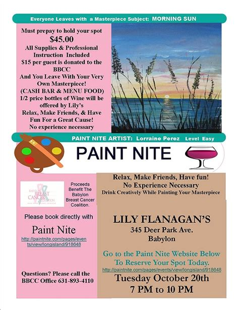 family paint nite island paint nite fundraiser babylon breast cancer coalition