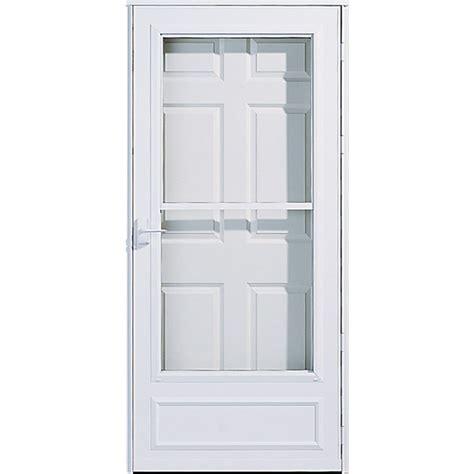 pella retractable screen door shop pella white mid view safety retractable screen