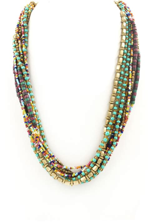 multi layered beaded necklace multi layer seed bead necklace necklaces