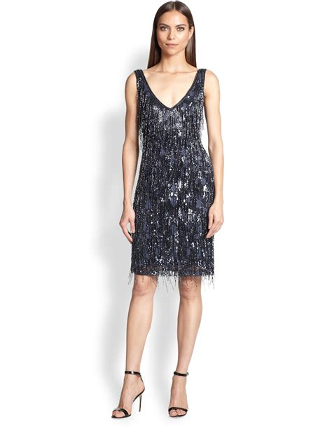 bead trim for dresses theia beaded fringe dress in blue lyst
