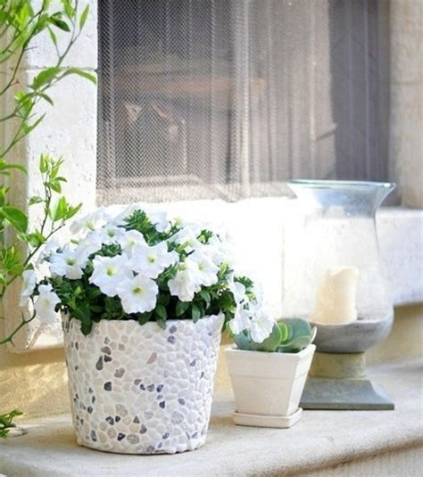 rock home decor diy flower pot for decorative garden plants interior and