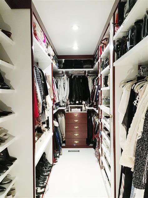 narrow walk in closet and narrow walk in closet with purse shelves