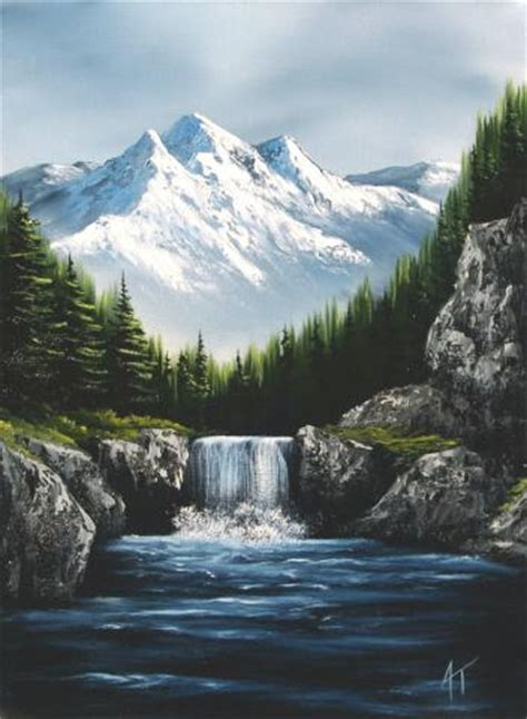 bob ross painting a waterfall a winter waterfall by darktiger17 on deviantart