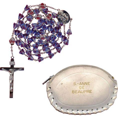 rosary canada sparkling blue glass vintage catholic rosary st de