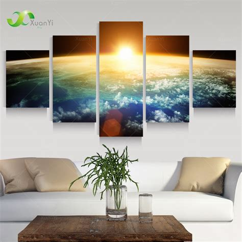 modern home decor pictures 5 panel modern space universe picture painting