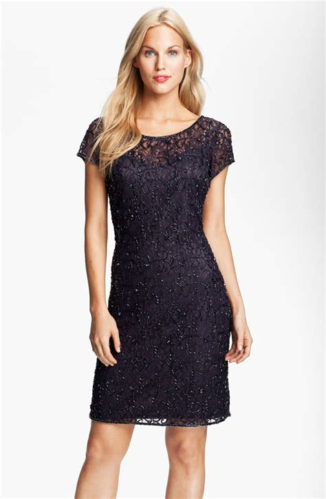 beaded lace dress pisarro nights beaded lace sheath dress pisarro nights