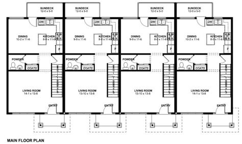 House Plans With Bedrooms In Basement by Economical Multi Family Dwelling House Plan Hunters