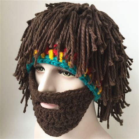 beard knit hat beard wig hat wool knitted hat taking pictures