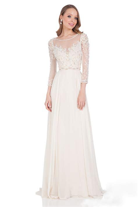 ivory beaded dress ivory beaded sleeve v back a line chiffon dress