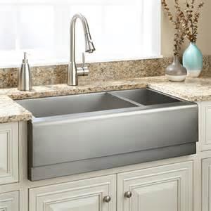 farmer sink kitchen 42 quot optimum 60 40 offset bowl stainless steel