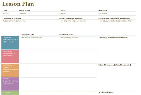 english lesson plan template free layout amp format