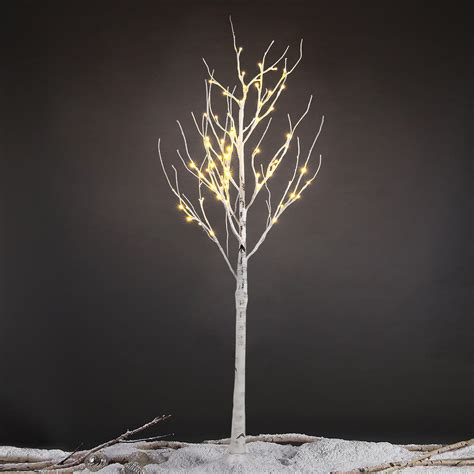 silver tree with lights 5ft silver birch tree light waterproof 72led decorative