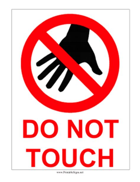 printable do not touch sign