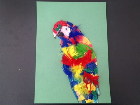 safari crafts for colourful parrot in a leafy jungle greeting card gluing