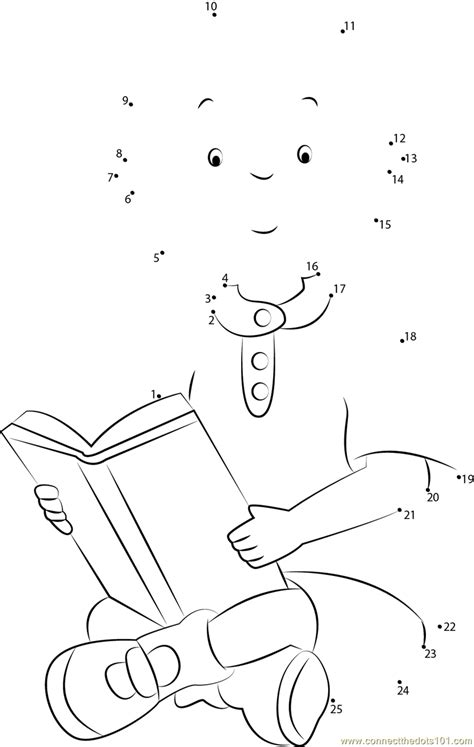dot picture book caillou reading a book dot to dot printable worksheet