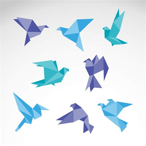origami quail color origami dove vector free vector graphic