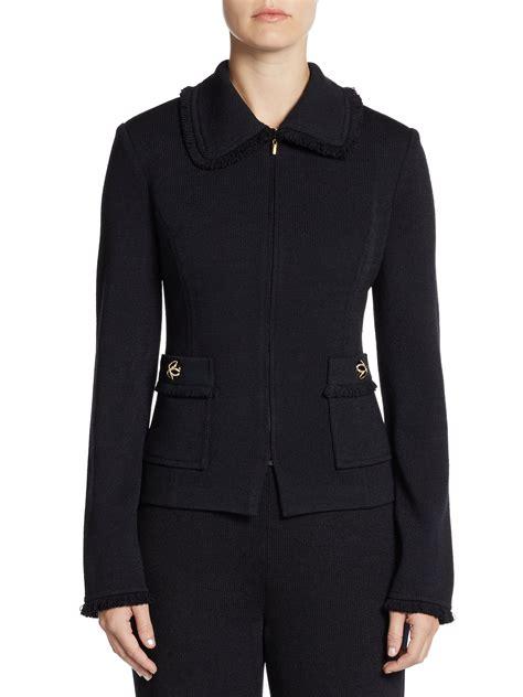 St Fringed Santana Knit Jacket In Blue Navy Lyst