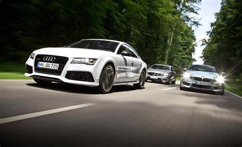 Audi Vs Mercedes by Bmw M6 Gran Coupe Vs Audi Rs7 Vs Mercedes Cls63 Amg S