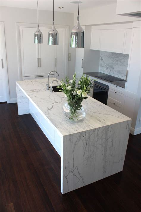 Marble Vanity Unit by My Kitchen Carrara Marble Waterfall Benchtop And
