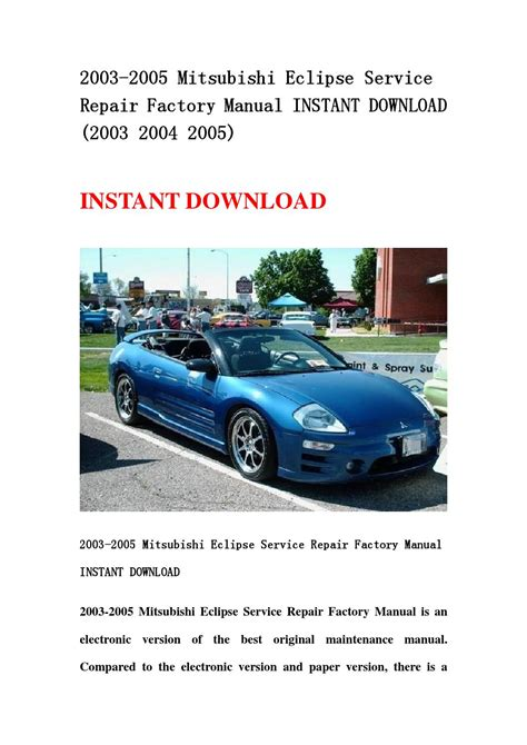 car service manuals pdf 2005 mitsubishi eclipse electronic toll collection mitsubishi eclipse spyder 2003 2005 repair service manuals autos post